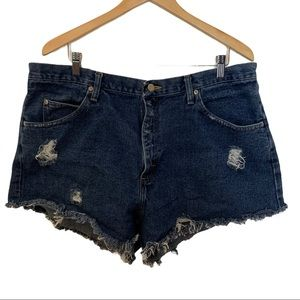 Wrangler Upcycled Cut Off Distressed Shorts W38
